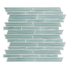 "11.7""x11.7"" Random Linear Crystal Glass Mosaic, Set Of 4, Sweet Pea River"