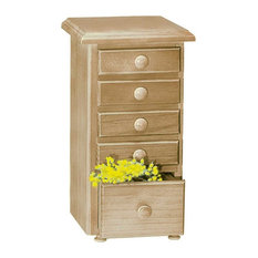 Kitchen Spice Chest Unfinished Pine 5 Drawer |