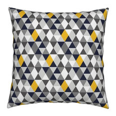 Smuk Geometric Yellow Navy Grey Triangles Throw Pillow Organic Sateen