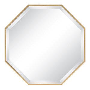 Rhodes Framed Octagon Wall Mirror, Gold 24.75x24.75