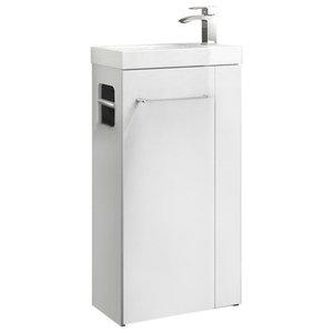 Floor Standing Vanity Sink Unit, White MDF With Towel Rail, Toilet Roll Holder