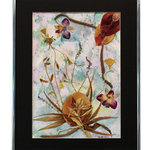"Nature Artist - Fantasy, Oshibana Art - * Oshibana (pressed plants) artwork in a 16"" x 20"" silver metal frame."