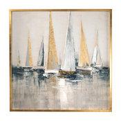 Oversize Metallic Sailboats Nautical Wall Art, Painting Silver Gold Blue Gray