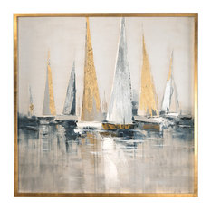 Oversize Metallic Sailboats Nautical Wall Art, Painting Silver Gold Blue Gray