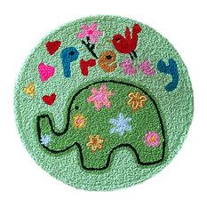 "Green Elephant Kids Bedroom Rug Embroidered Mat, Carpet, 23.62""x23.62"""