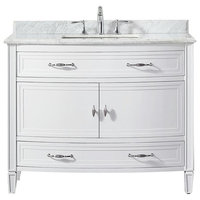 """42""""x 22"""" Vanity in White With Marble Vanity Top in White"""