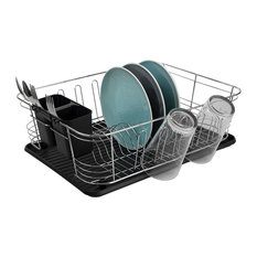 3-Piece Chrome Plated Steel and Plastic Dish Rack, Black