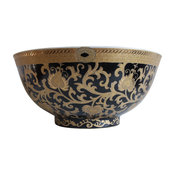 Chinese Black and Gold Tapestry Motif Porcelain Bowl With Base 14""