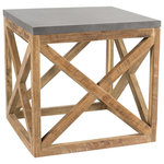 Padma's Plantation - Valencia End Table - Contrasting Warm Reclaimed Teak wood and cold Industrial Metal provide Raw appeal that culminates in our Eco Industrial Look!   A striking end table with an architectural flair which creates an updated casual look for any home.   Please note, actual furniture and fabric colors may slightly differ from photos due to lighting and one's individual monitor settings.