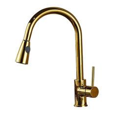 Manaus Deck Mounted Gold Kitchen Sink Faucet