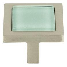 Atlas Homewares 230 Spa 1-3/8 Inch Square Cabinet Knob - Green / Brushed Nickel