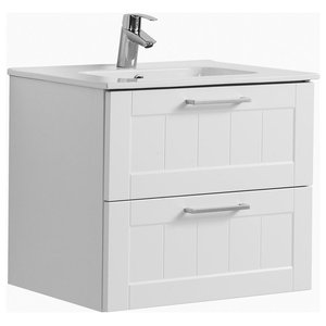 Barolo Bathroom Vanity Unit, Matte White, 60 cm