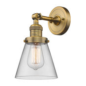 Small Cone 1-Light Sconce, Clear Glass, Brushed Brass