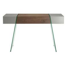 Casabianca IL Vetro Cabana Clear Glass Console Table Taupe/Walnut