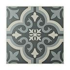 "7.75""x7.75"" Cavado Ceramic Floor/Wall Tiles, Set of 25, Black"