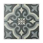 "7.75""x7.75"" Cavado Ceramic Floor/Wall Tiles, Set of 25, Black"