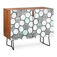 Deny Designs Honeycomb Block Print Credenza Walnut Black Steel Legs