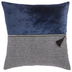 """Jaipur Living - Nikki Chu by Jaipur Living Kirat Blue/Gray Textured Throw Pillow 22"""", Poly Fill - This sleek Nikki Chu throw pillow makes a handsome addition to modern sofas and beds. Part herringbone pattern, part solid velvet, this eclectic yet sophisticated cushion boasts a stunning blue, gray, and black colorway. A silver and tasseled zipper accent divides the textured front cover of this unique pillow."""