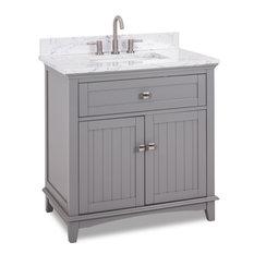 36-inch Gray Vanity Satin Nickel Hardware Carrara-look Engineered Marble Top Bowl