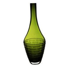 """Curved Olive Green Bottle Vase. 15"""""""