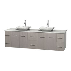 "Centra 80"" Gray Oak Double Vanity, White Carrera Marble Top, Carrera Marble Sink"