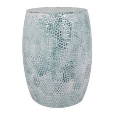 Colombo Metal Stool, White and Petrol Blue