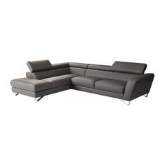 JNM Furniture - Nicoletti  Sparta Italian Leather Sectional Sofa, Gray, Left Facing Chaise - Sectional Sofas