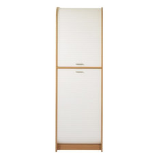 Large Kitchen Storage Cabinet With Roller Shutter, Beech and White