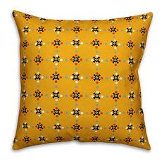 "Whimsical Folk Pattern, Yellow Outdoor Throw Pillow, 18""x18"""