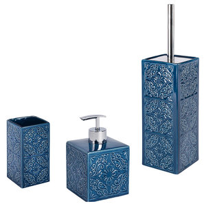 Cordoba 3-Piece Bathroom Accessories Set, Blue