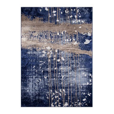 """Abstract Area Rug, Blue, 9'6""""x7'6"""""""