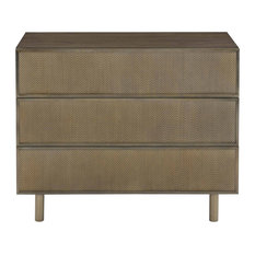 Kathy Kuo Home - Portia Hollywood Regency Walnut Inset Steel Mesh 3-Drawer Nightstand - Nightstands and Bedside Tables