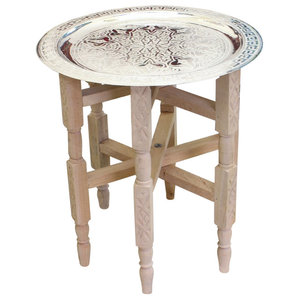 Moroccan Tray Side Table Silver Maillechort With Cedar Wood Legs Handmade