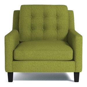 elysian chair green apple by apt2b furniture around a corner tv