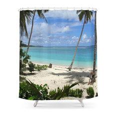 Blue Beach Shower Curtain