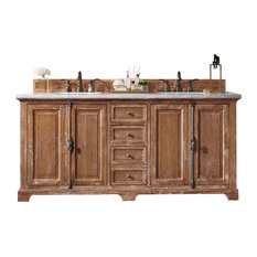 "Providence 72"" Driftwood Double Vanity 2CM Galala Beige Marble Top"
