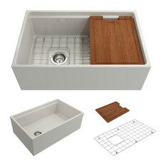 Bocchi Contempo 30 Biscuit Fireclay Farmhouse Sink Single Bowl Step Rim