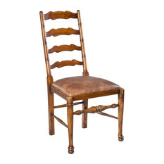 """41"""" H Giusy Set of Two Side Chair Old World Solid Walnut Brn Pegasus Leather"""