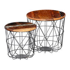 VidaXL 2-Piece Set Reclaimed Wood Coffee Tables Round, 35 cm and 45 cm
