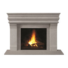 Fireplace Stone Mantel 1106.556 With Filler Panels, Limestone, With Hearth Pad