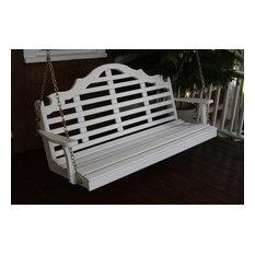 6' Pine Porch Swing in Marlboro Design, White