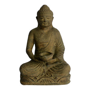 Meditating Buddha Statue With Candleholder