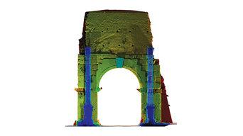 Arco di Druso Roma, rilievo laser scanner, colorimetria