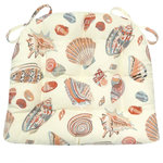 Barnett Home Decor - Shells at Low Tide Dining Chair Pad, Latex Foam Fill, Seashells, Standard - Shells at Low Tide dining chair pads feature conchs, scallops, and other seashell collector's favorites on an ivory background.