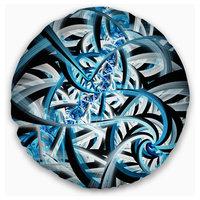"Blue Spiral Fractal Design Abstract Throw Pillow, 16"" Round"