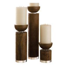Scratched Pillar Candleholder, Brown, Small