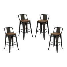Purenity - Purenity 24'' Matte Metal Industrial Wood Top Counter Stool, Set of 4 - Bar Stools and Counter Stools