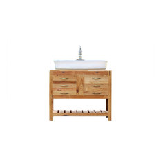 39-inch Reclaimed Wood Vanity Cabinet Vessel Sink Apothecary Chest Package