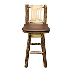Montana Woodworks   Glacier Country Collection Bar Stool, Back And Swivel,  Saddle Pattern