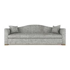 Horatio 7' Crushed Velvet Sofa Silver Streak Classic Depth